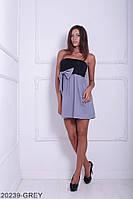 Симпатичное двухцветное кукольное платье с бантом  Aleksis XXL, Grey