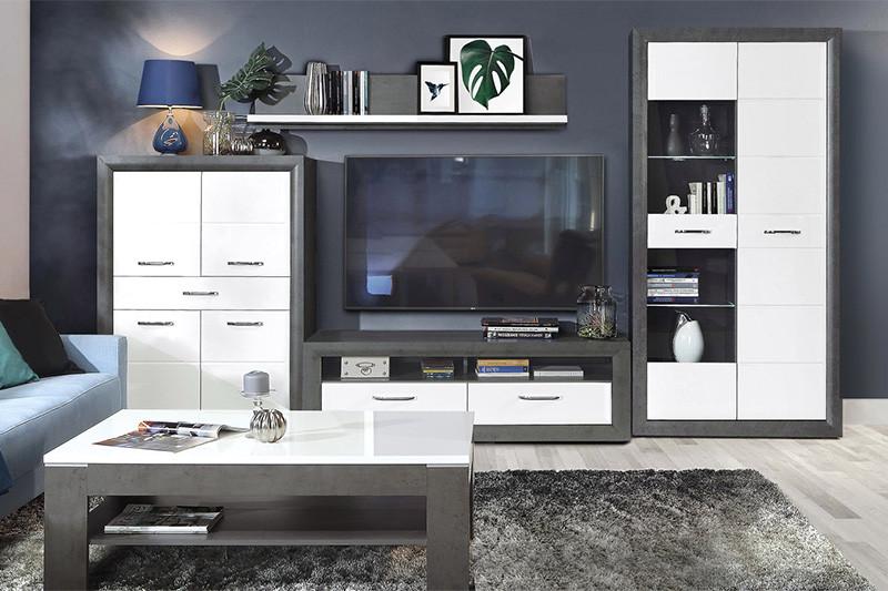 Гостиная стенка LENNOX NEW 2 Forte бетон темно-серый/белый глянец