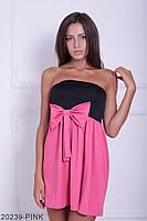 Симпатичное двухцветное кукольное платье с бантом  Aleksis XXL, Pink