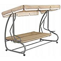 """Садовая качеля-кровать """"Люкс"""" с подушками бежевая, до 260 кг. Производство Польша."""