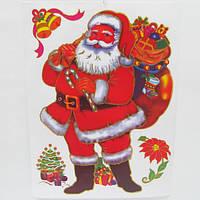 "Наклейки для окон 40*30CM ""Санта с мешком подарков"""