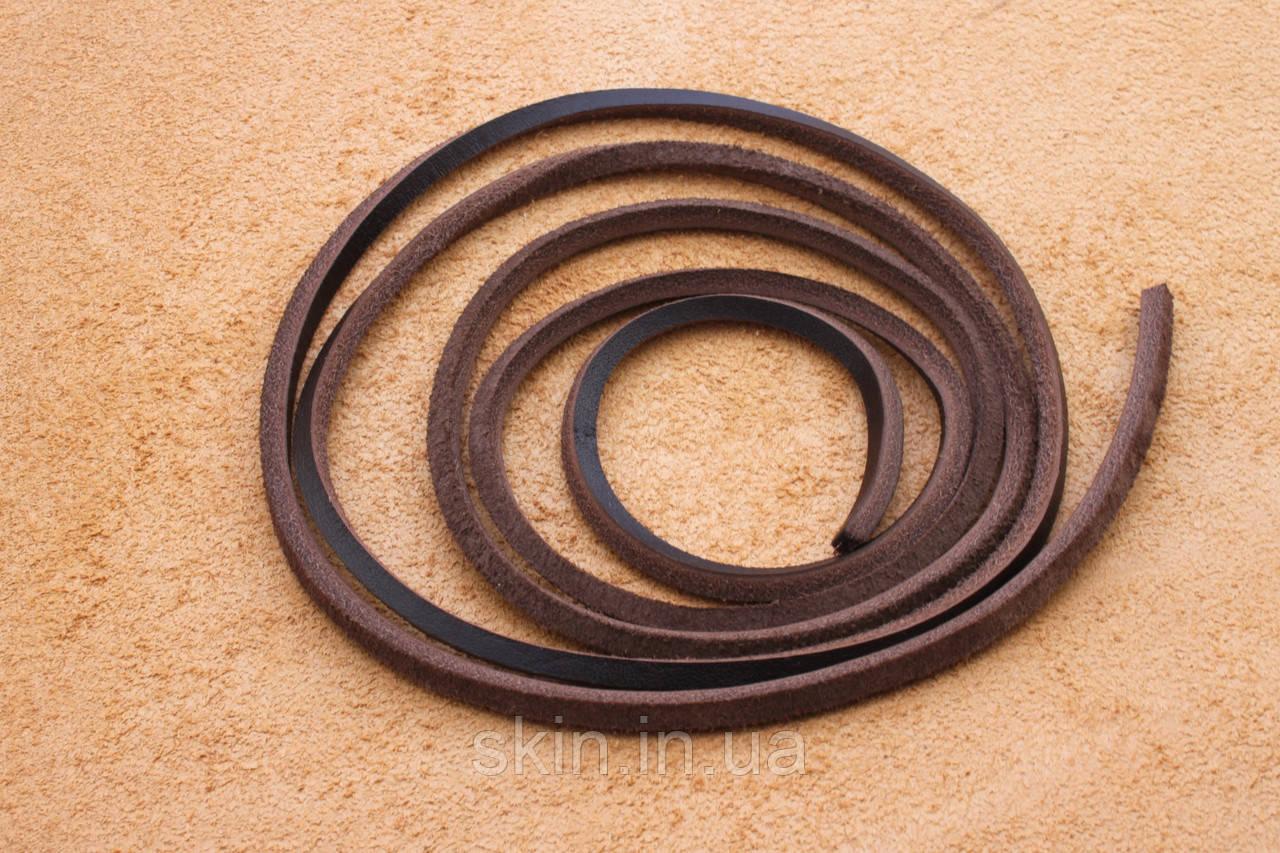 Шнурок из натуральной кожи, ширина 3.5 мм, толщина 3.5 мм, коричневого цвета, арт. СК 9028-2