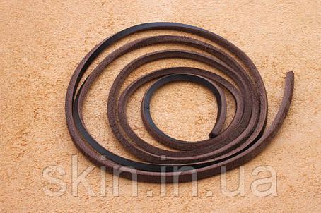 Шнурок из натуральной кожи, ширина 3.5 мм, толщина 3.5 мм, коричневого цвета, арт. СК 9028-2, фото 2