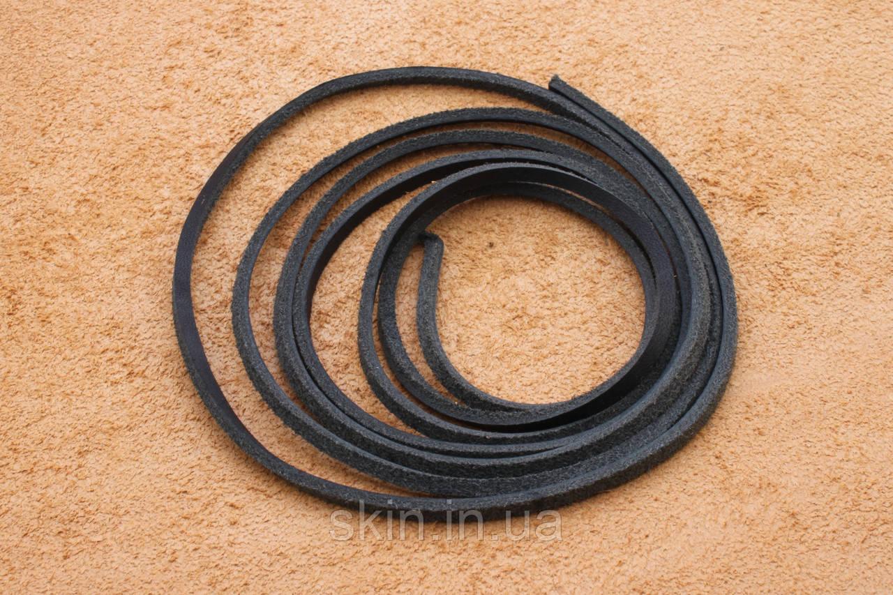 Шнурок из натуральной кожи, ширина 2.5 мм, толщина 2.5 мм, черного цвета, арт. СК 9031