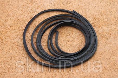 Шнурок из натуральной кожи, ширина 2.5 мм, толщина 2.5 мм, черного цвета, арт. СК 9031, фото 2