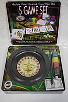 """Гра настольна """" 5 наборов ігор-рулетка, покер, Блек джек,кості"""""""
