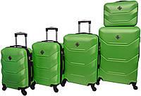 Набор пластиковых дорожных чемоданов на колесах Bonro 5 штук салатовый