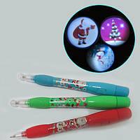 """Ручка шариковая свет. проектор """"Новогодняя"""", mix"""