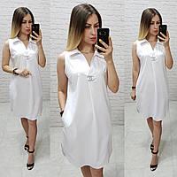 Летнее платье-рубашка без рукавов, арт. 167, белое