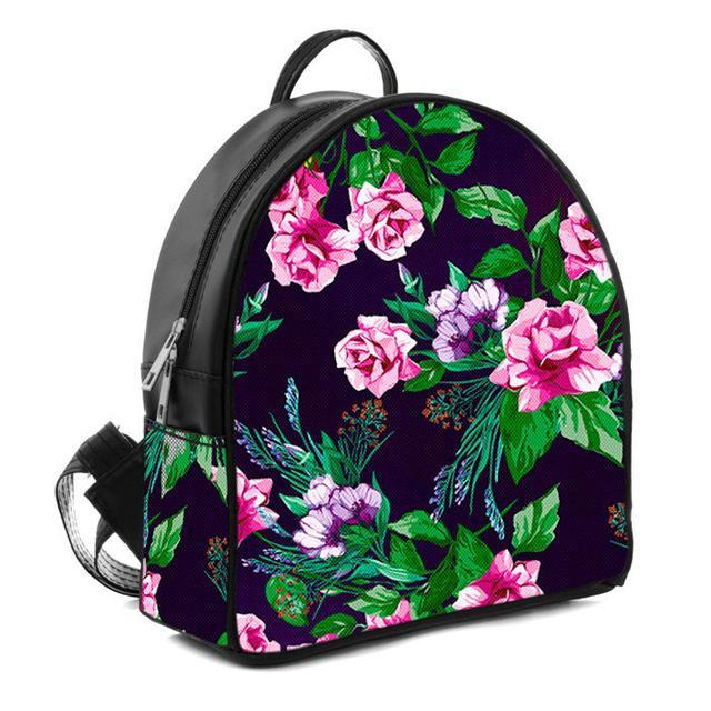 Черный женский городской рюкзак с принтом розы