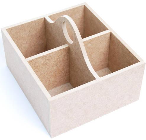 Шкатулка для чаю МДФ 4 ячейки 18 х16 х12.5 см, фото 2