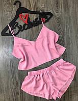Розовая штапельная пижама топ и шорты.