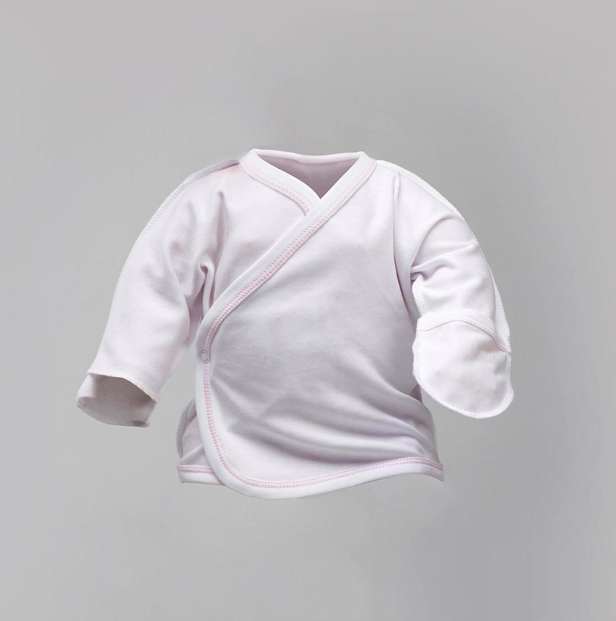 Распашонка для новорожденных под розовую нитку, цвет белый Интерлок   |  Льоля біла Victory з рожевою ниткою