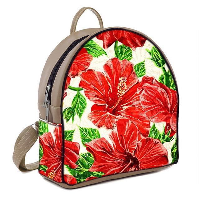 Бежевый женский городской рюкзак с принтом Цветы