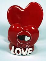 Сувенир керамический подставка под мобилки с изображ 2-х сердец (Love)