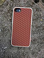 Силиконовый чехол Vans Подошва iPhone SE/5S/5, коричневый+белый, фото 1