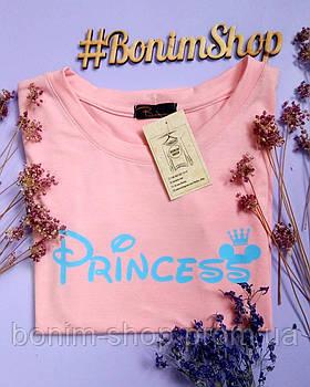 Персиковая женская футболка с принтом Princess