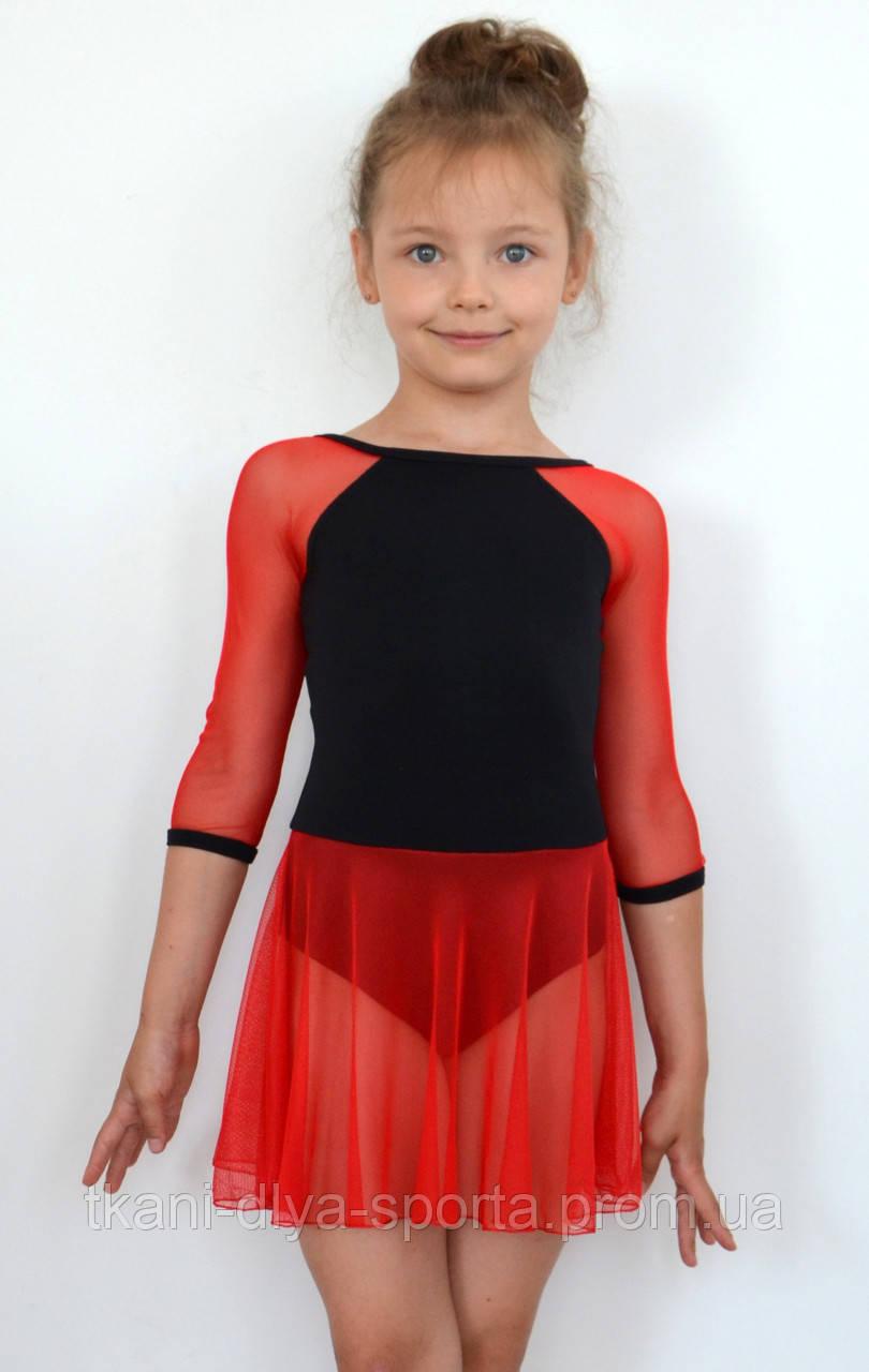 Купальник для танцев с юбочкой из красной сетки