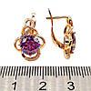 Серьги Xuping с фиолетовыми и белыми фианитами (куб. цирконием), из медицинского золота, в позолоте, ХР00310, фото 2