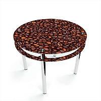 Стол кухонный стеклянный Круглый с проходящей полкой Coffee aroma 70х70 *Эко (БЦ-стол ТМ)