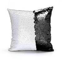 Подушка для сублимации квадратная 40*40 см с пайетками черная