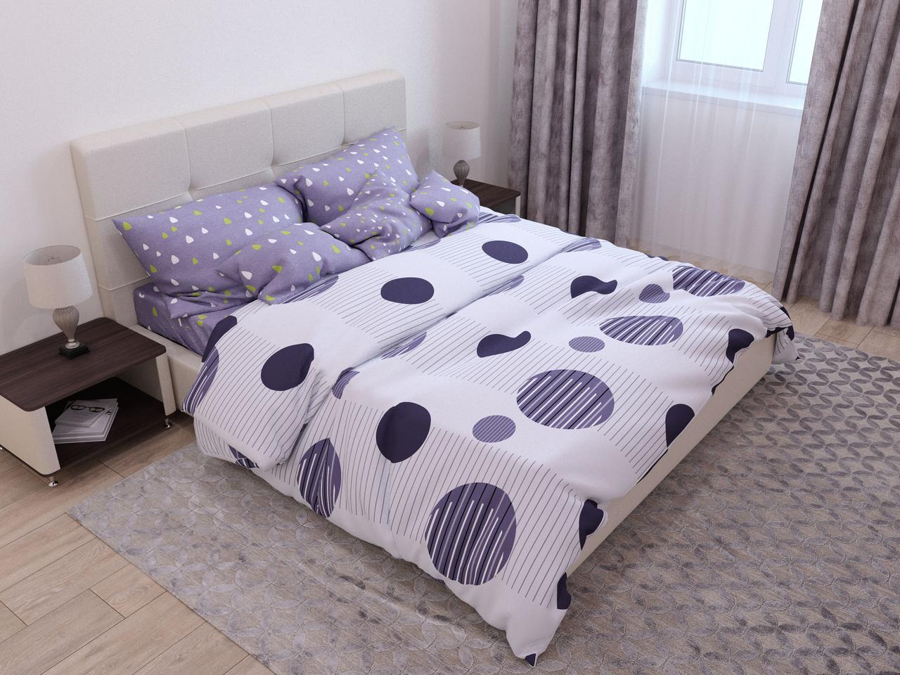 Двуспальный комплект постельного белья с евро простыней «Небесные шары» из бязи голд