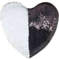 """Подушка для сублимации """"Сердце"""" с пайетками черная"""