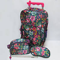 """Набор: чемодан-рюкзак детский на колесах 43*31*11см + сумка + пенал """"Бабочки, цветы"""""""