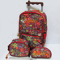 """Набор: чемодан-рюкзак детский на колесах 43*31*11см + сумка + пенал """"Flower"""""""