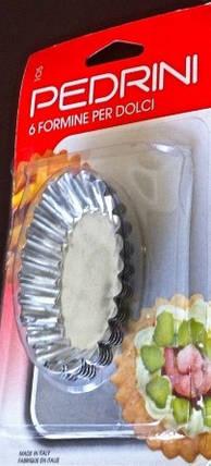 Форма для пирожных 6 штук Pedrini (Италия),Формы для тарталеток, Формы для кексов нержавейка, фото 2