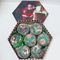 """Шары новогодние в подарочной коробке матов. """"Санта"""" 7шт. 75мм"""