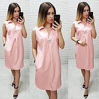 Летнее платье-рубашка  без рукавов, арт. 167, пудра, фото 1