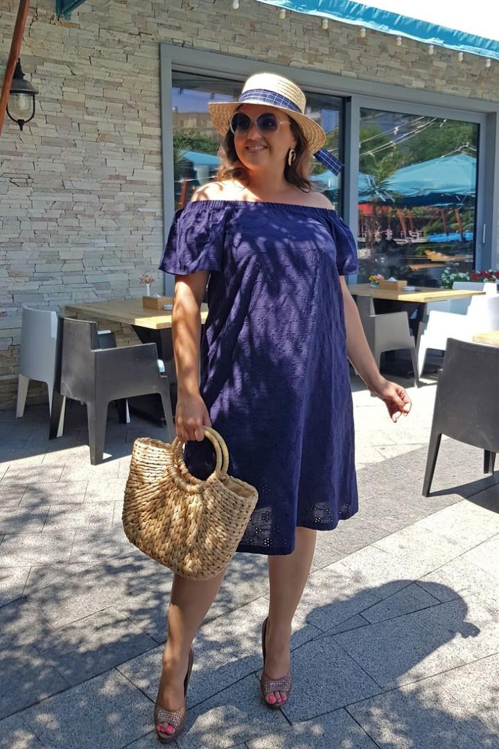 Платье женское длинное из хлопка с вышивкой на подкладке (К28084)