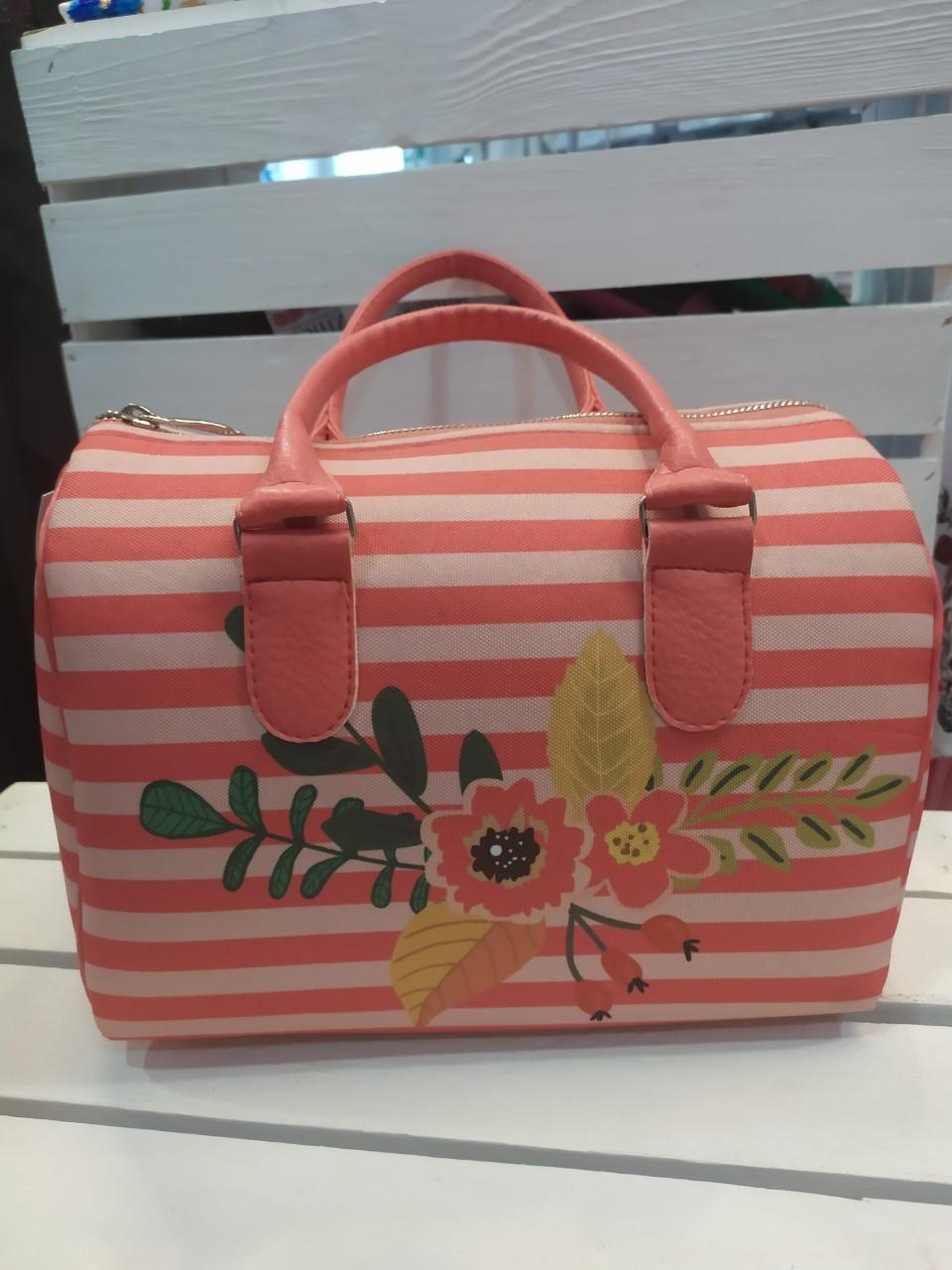 Женская сумка бочонок с принтом Цветы