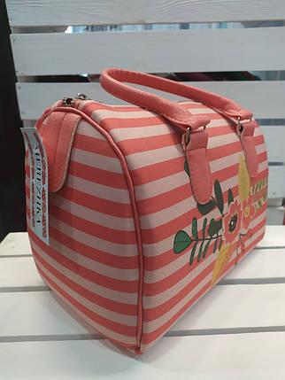 Женская сумка бочонок с принтом Цветы, фото 2