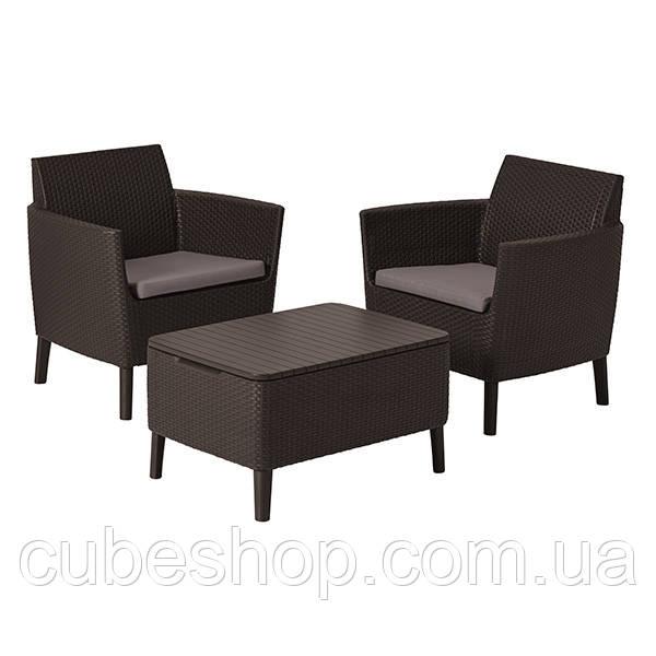 Комплект садовой мебели из искусственного ротанга Salemo balcony set (коричневый)