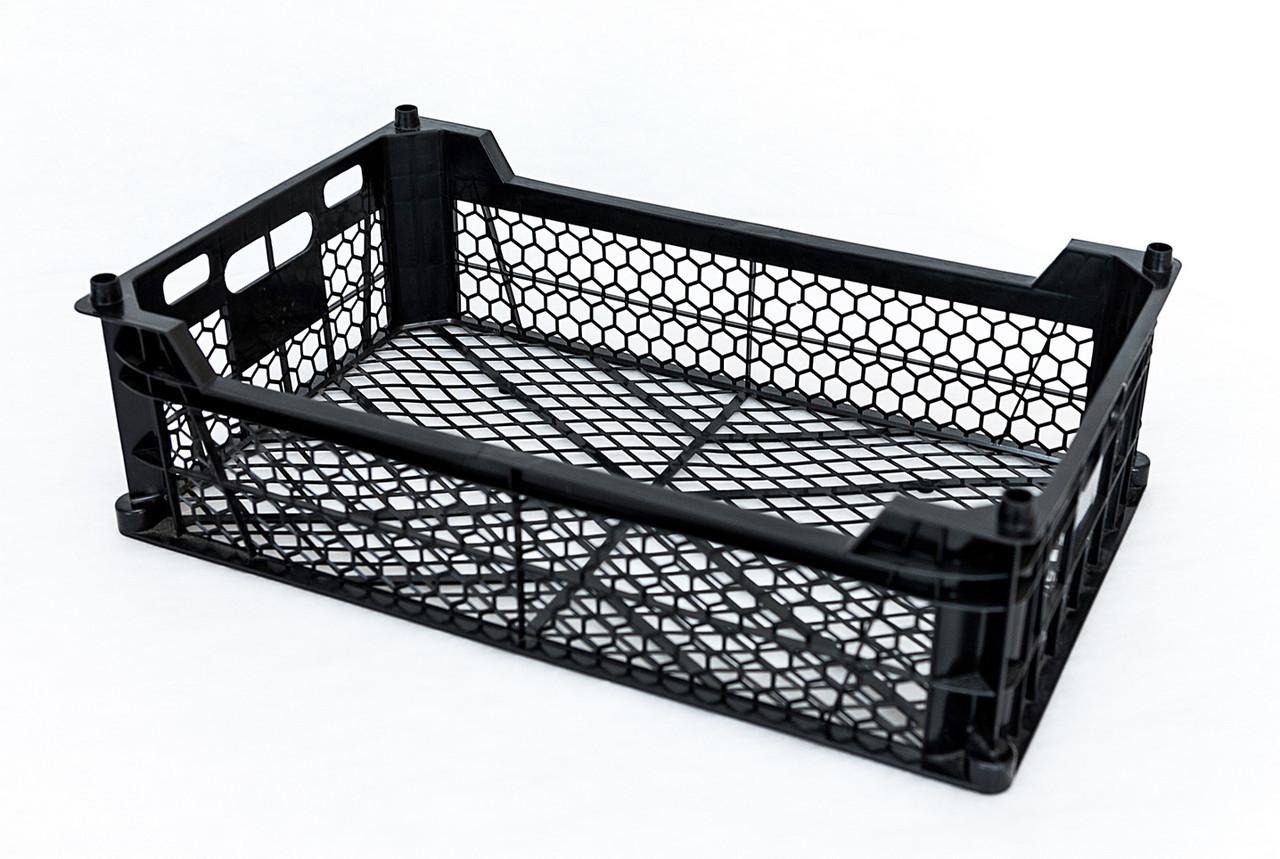 Ящик для фруктов и овощей пластиковый перфорированный чёрный 480x290x130 мм