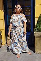 Платье женское длинное из штапеля на брителях с цветочным принтом (К28085), фото 1