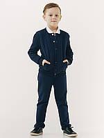 Школьные брюки на резинке для мальчика ТМ Смил, синие размер 140