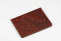 """Коричневая обложка для паспорта, обложка из натуральной кожи с тиснением """"Цветы"""", фото 1"""
