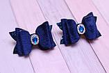 Набор Бантики из экокожи и бархата синие, фото 2