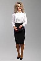 Красивая юбка карандаш, в строгом черном цвете, декорирована вставками из эко кожи, р.54 код 3105М