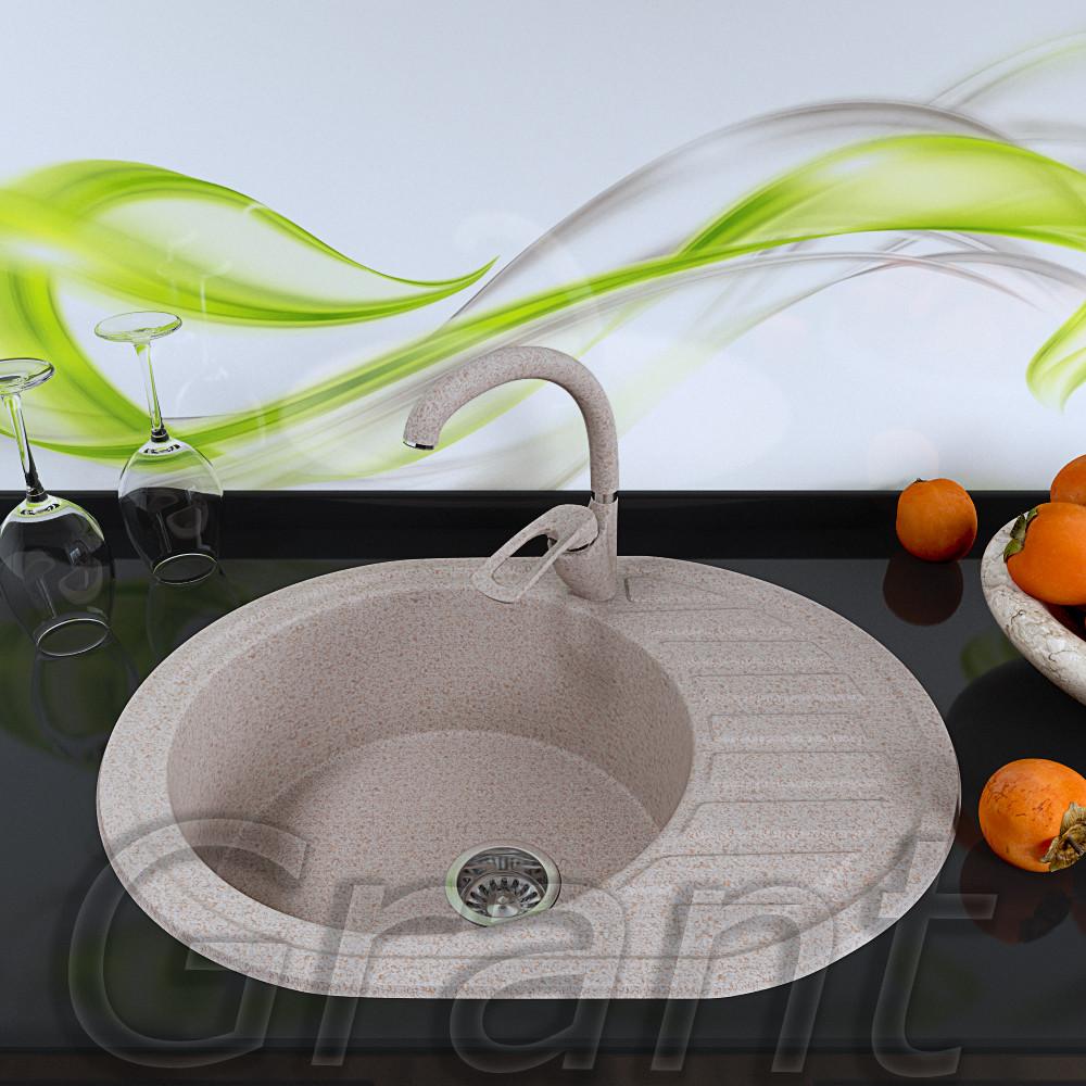 Гранитная овальная мойка 620х500 для кухни Grant Galaxy avena