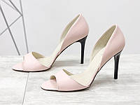 Женские кожаные туфли ПУДРА на шпильке с открытыми пальцами Италия