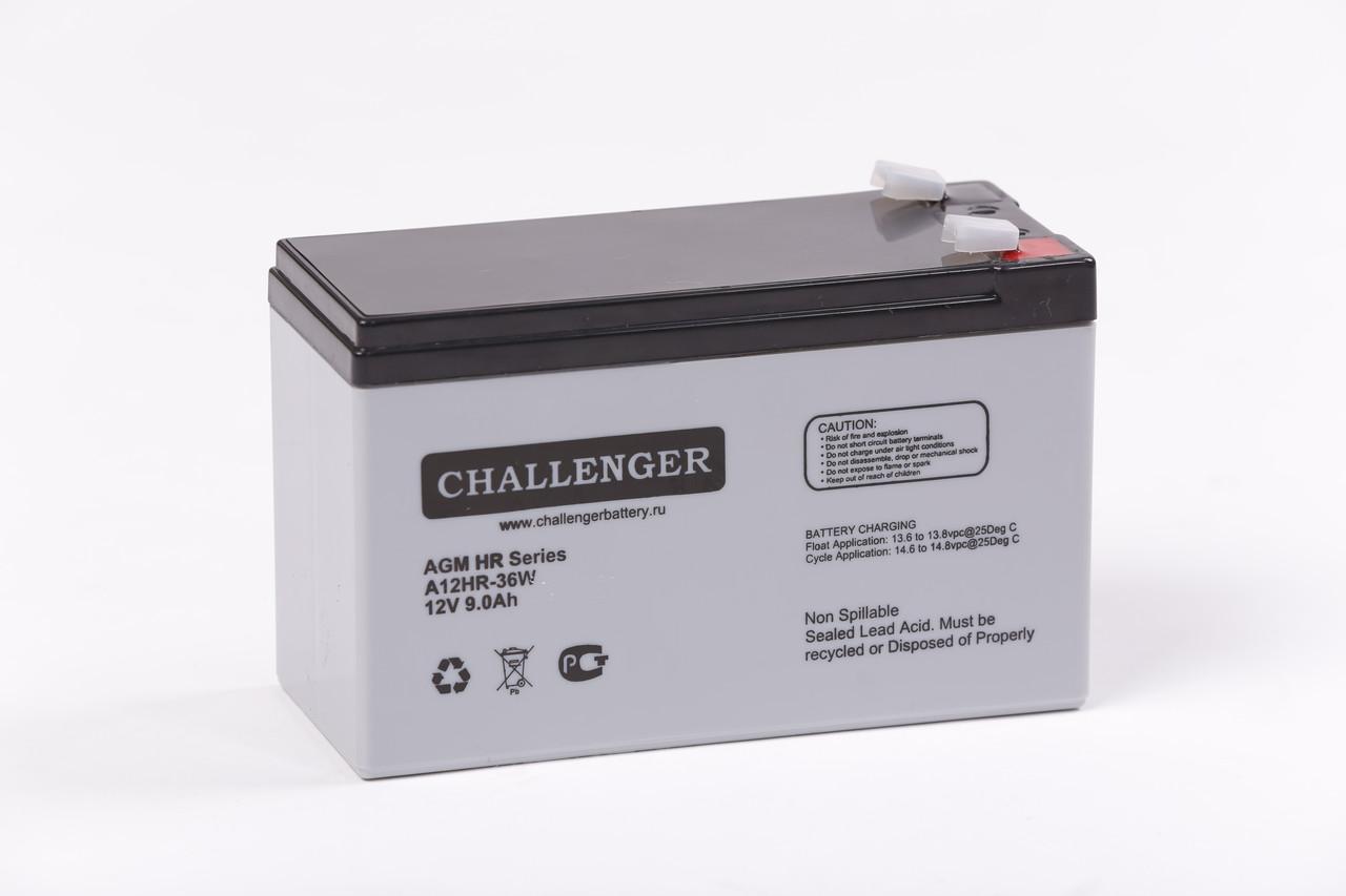 Аккумулятор AGM - 9 Ач, 12В гелевый Challenger A12HR-36W
