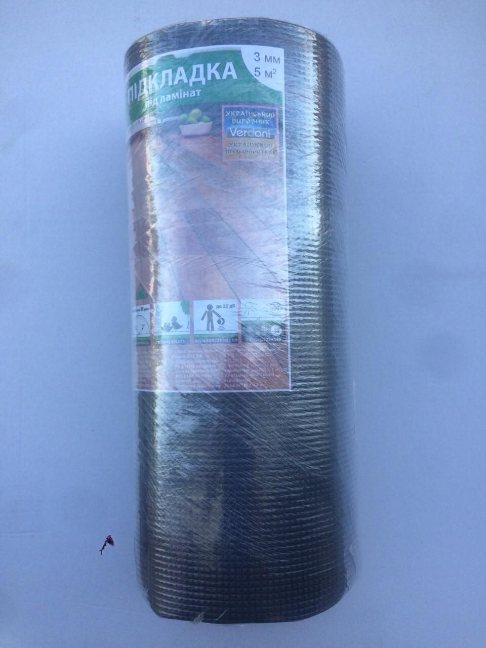 Подкладка под ламинат Verdani 10х500х3 мм Черный