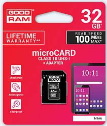 Карта памяти GOODRAM 32GB microSDHC Class 10 UHS I + SD адаптер (M1AA-0320R12)