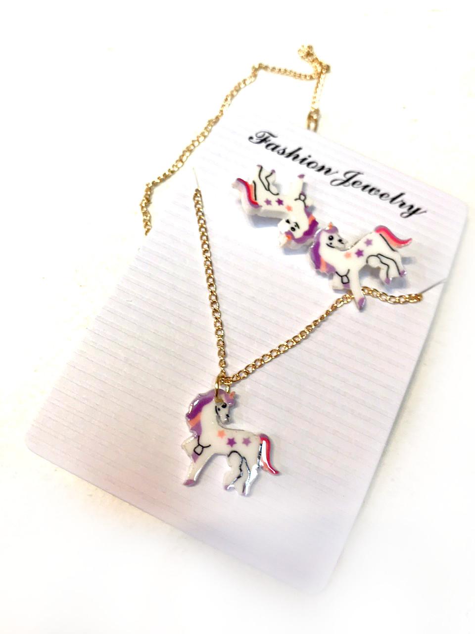 Детский набор сережки, цепочка с Пони