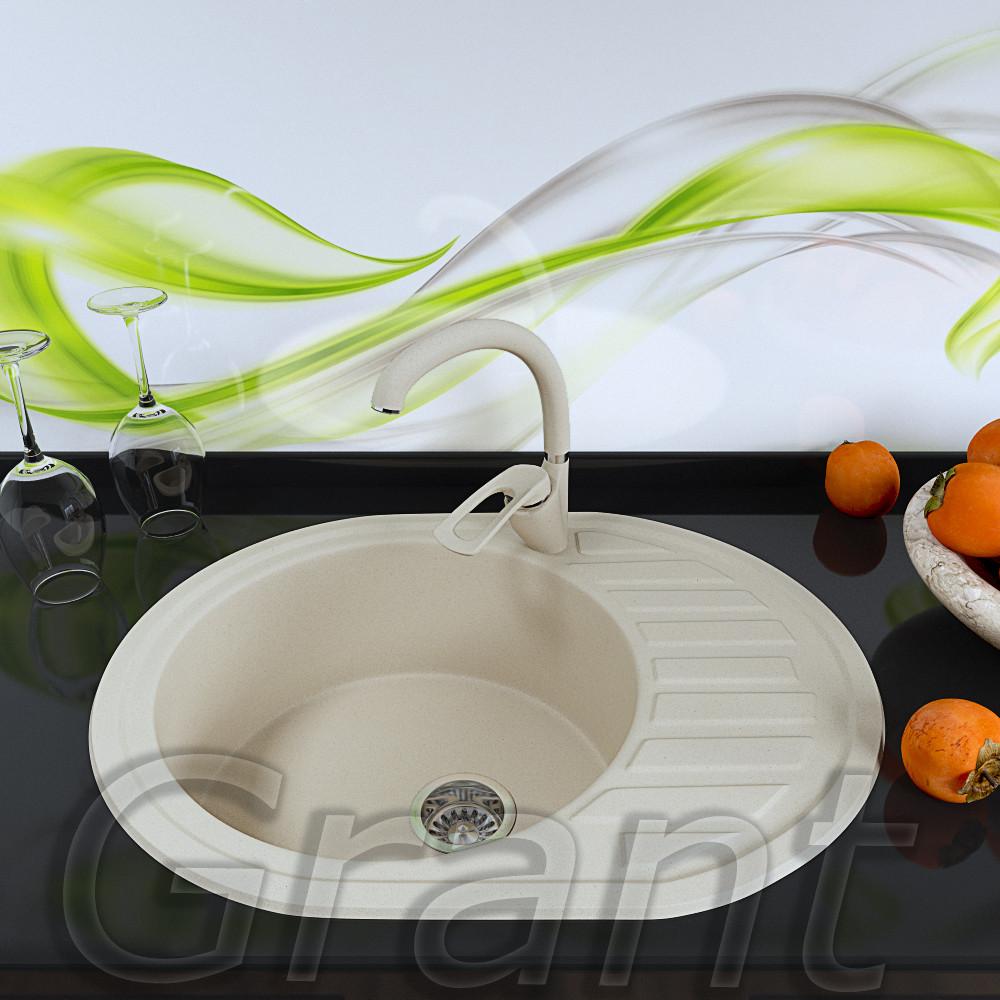 Гранитная врезная мойка 620х500 кухонная с крылом Grant Galaxy, цвет - ivory