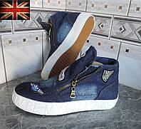 Женские кеды джинсовые ботинки на платформе. Сникерсы Dark Denim (Англия)., фото 1